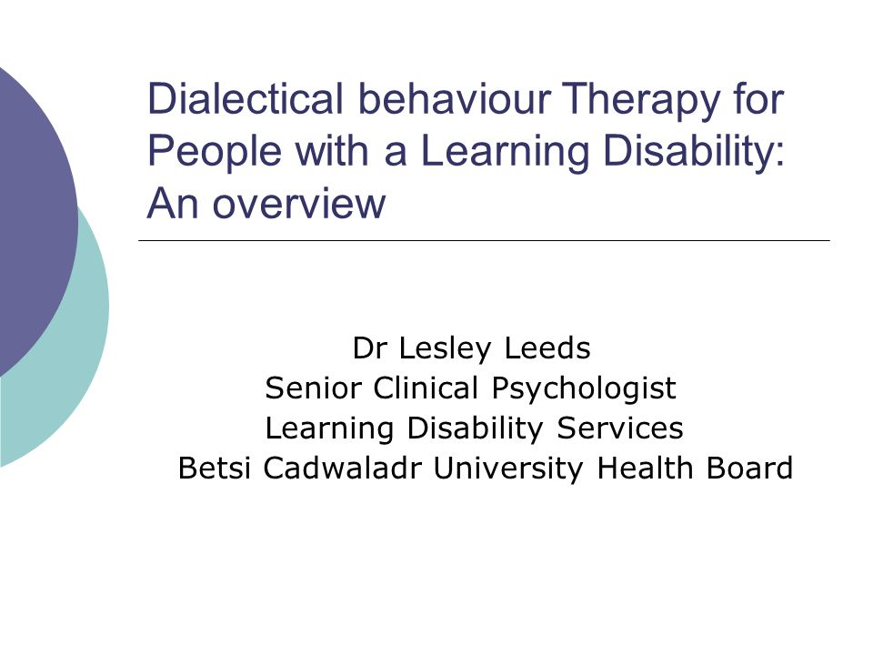 Why is DBT useful for people with learning disabilities.