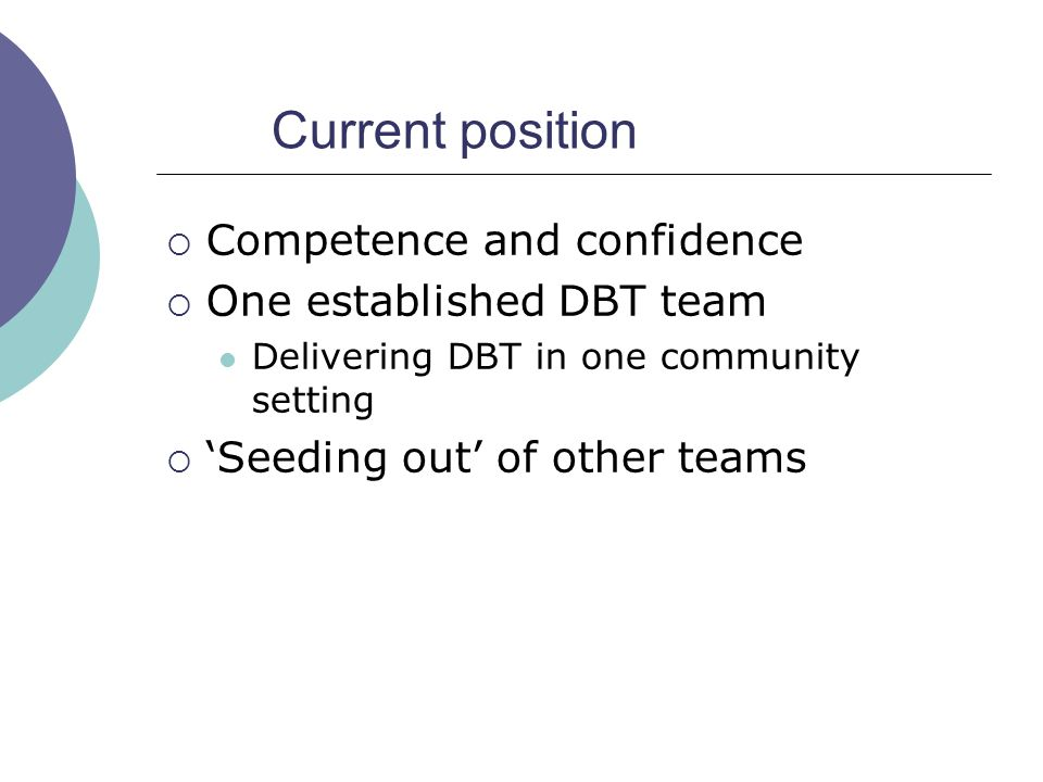 Current position  Competence and confidence  One established DBT team Delivering DBT in one community setting  'Seeding out' of other teams