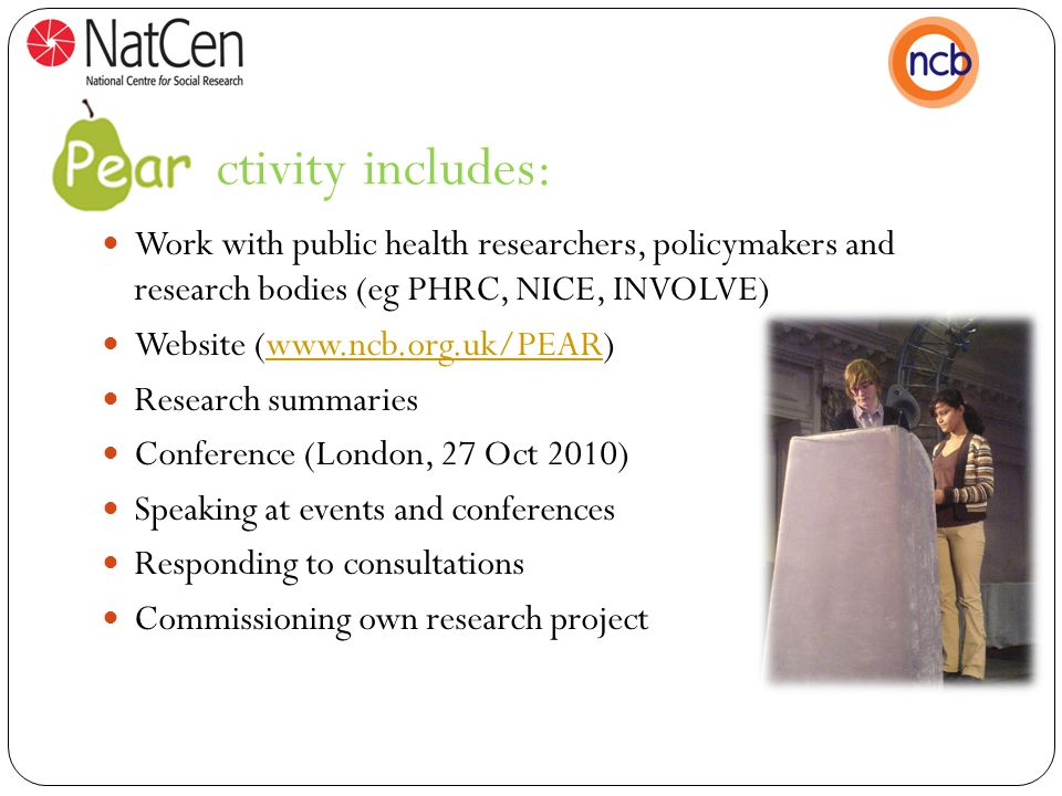activity includes: Work with public health researchers, policymakers and research bodies (eg PHRC, NICE, INVOLVE) Website (www.ncb.org.uk/PEAR)www.ncb.org.uk/PEAR Research summaries Conference (London, 27 Oct 2010) Speaking at events and conferences Responding to consultations Commissioning own research project