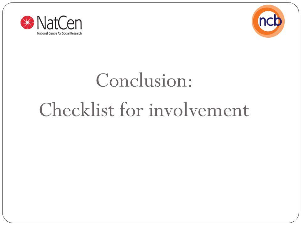 Conclusion: Checklist for involvement