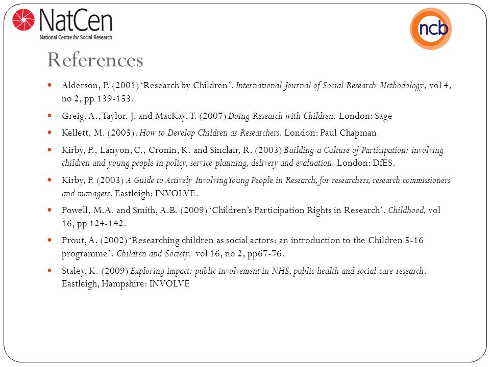 References Alderson, P.(2001) 'Research by Children'.