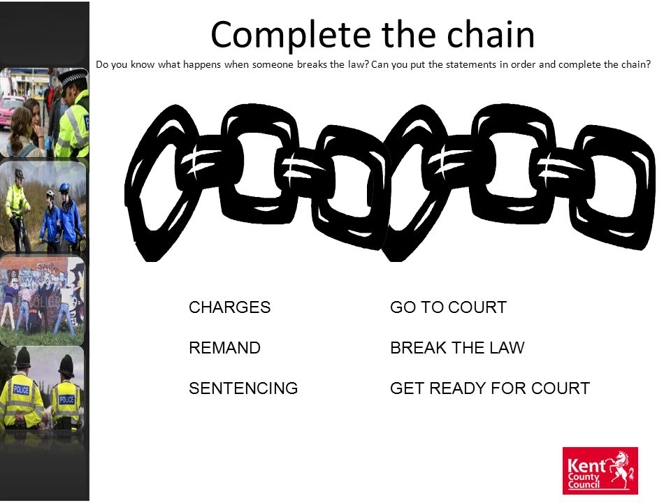 Complete the chain Do you know what happens when someone breaks the law? Can you put the statements in order and complete the chain? CHARGESGO TO COUR