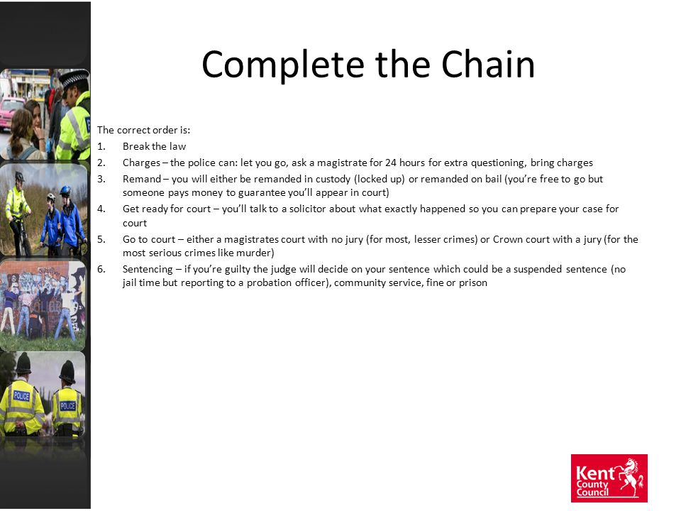 Complete the Chain The correct order is: 1.Break the law 2.Charges – the police can: let you go, ask a magistrate for 24 hours for extra questioning,