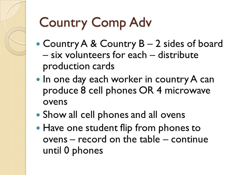 Country Comp Adv Country A & Country B – 2 sides of board – six volunteers for each – distribute production cards In one day each worker in country A