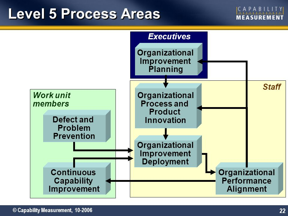 © Capability Measurement, 10-2006 22 Work unit members Staff Executives Level 5 Process Areas Organizational Improvement Planning Defect and Problem P