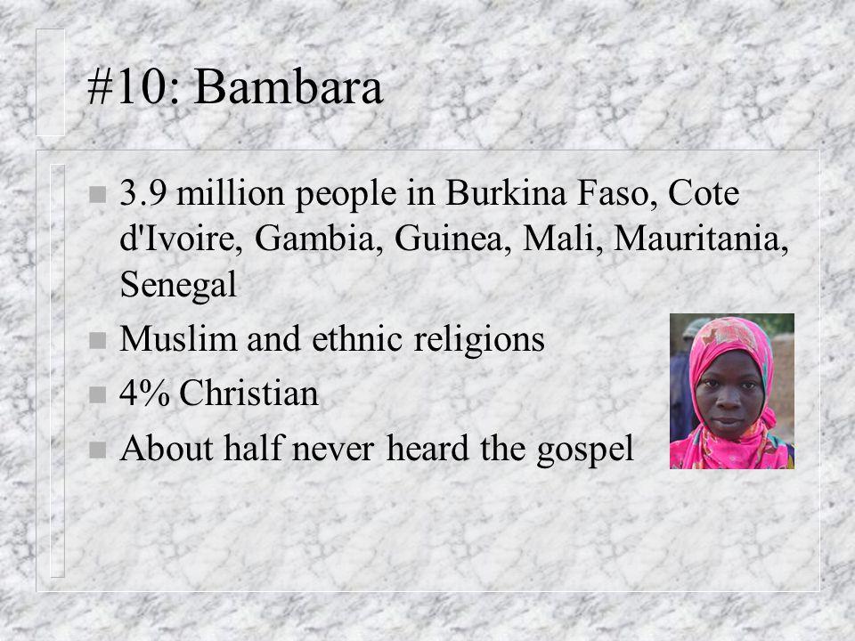 #10: Bambara n 3.9 million people in Burkina Faso, Cote d Ivoire, Gambia, Guinea, Mali, Mauritania, Senegal n Muslim and ethnic religions n 4% Christian n About half never heard the gospel