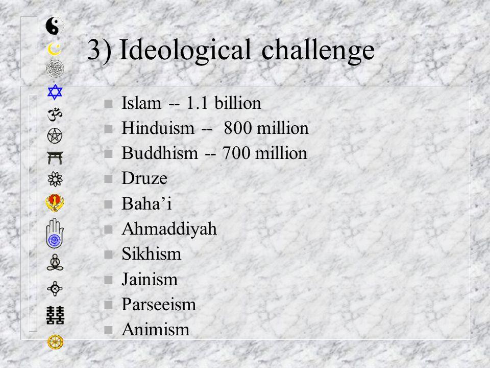 3) Ideological challenge n Islam -- 1.1 billion n Hinduism -- 800 million n Buddhism -- 700 million n Druze n Baha'i n Ahmaddiyah n Sikhism n Jainism n Parseeism n Animism