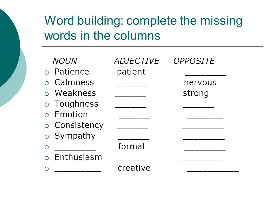 Word building: complete the missing words in the columns NOUN ADJECTIVE OPPOSITE  Patience patient ________  Calmness ______ nervous  Weakness ____