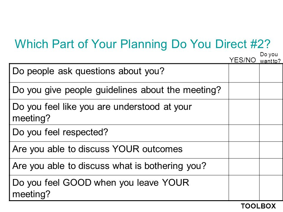 Which Part of Your Planning Do You Direct #1.