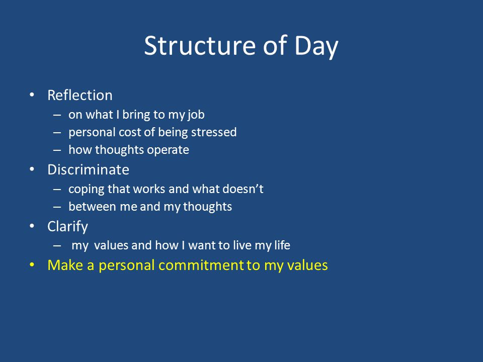 Structure of Day Reflection – on what I bring to my job – personal cost of being stressed – how thoughts operate Discriminate – coping that works and
