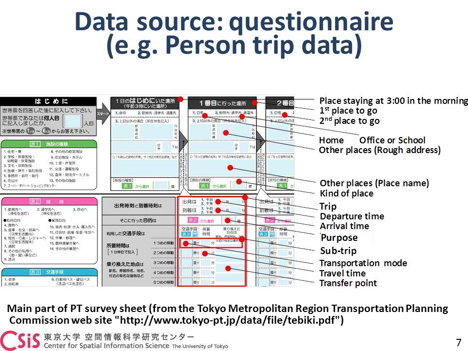 Data source: questionnaire (e.g. Person trip data) 7 Main part of PT survey sheet (from the Tokyo Metropolitan Region Transportation Planning Commissi