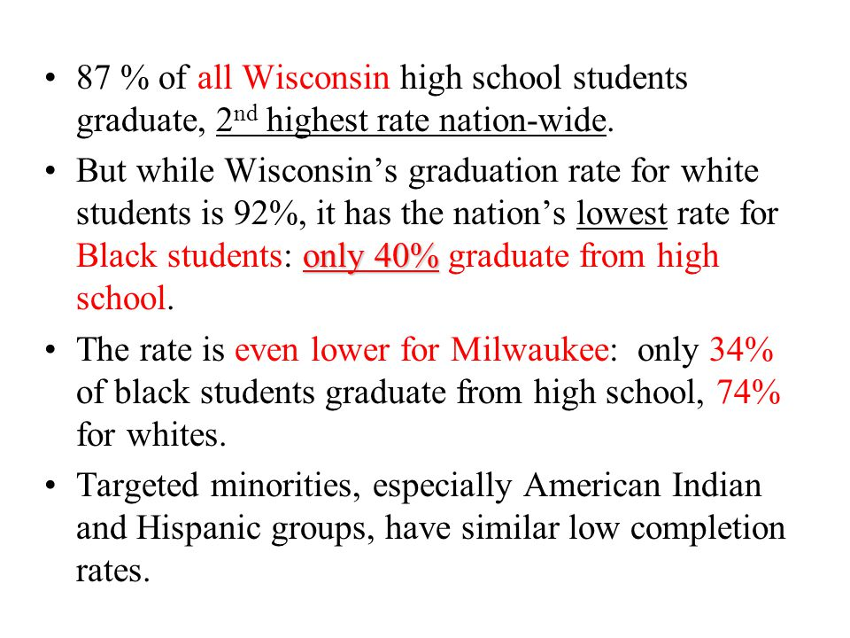 87 % of all Wisconsin high school students graduate, 2 nd highest rate nation-wide.