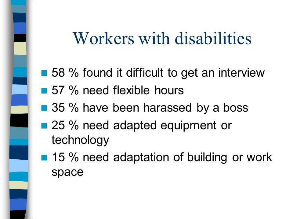 Workers with disabilities 58 % found it difficult to get an interview 57 % need flexible hours 35 % have been harassed by a boss 25 % need adapted equ