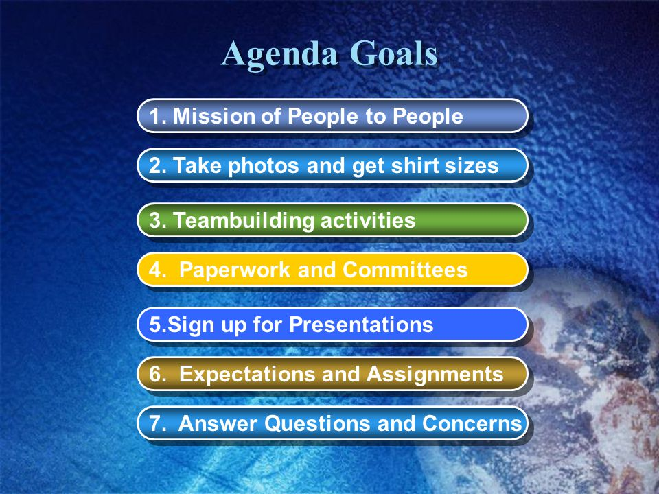 Agenda Goals 4. Paperwork and Committees 2. Take photos and get shirt sizes 3.