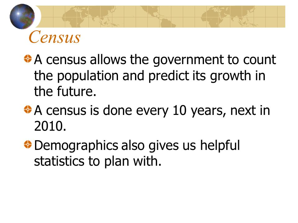 Population Growth In 2010 population is projected to be 310 million people in U.S.