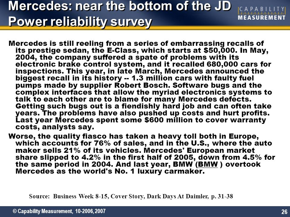 © Capability Measurement, 10-2006, 2007 26 Mercedes: near the bottom of the JD Power reliability survey Mercedes is still reeling from a series of embarrassing recalls of its prestige sedan, the E-Class, which starts at $50,000.