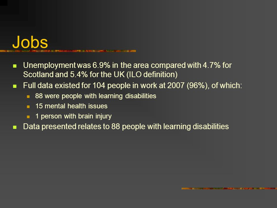 Jobs Unemployment was 6.9% in the area compared with 4.7% for Scotland and 5.4% for the UK (ILO definition) Full data existed for 104 people in work at 2007 (96%), of which: 88 were people with learning disabilities 15 mental health issues 1 person with brain injury Data presented relates to 88 people with learning disabilities