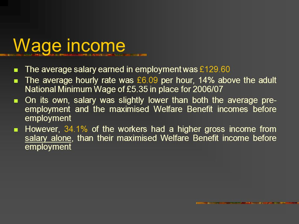 Wage income The average salary earned in employment was £129.60 The average hourly rate was £6.09 per hour, 14% above the adult National Minimum Wage of £5.35 in place for 2006/07 On its own, salary was slightly lower than both the average pre- employment and the maximised Welfare Benefit incomes before employment However, 34.1% of the workers had a higher gross income from salary alone, than their maximised Welfare Benefit income before employment