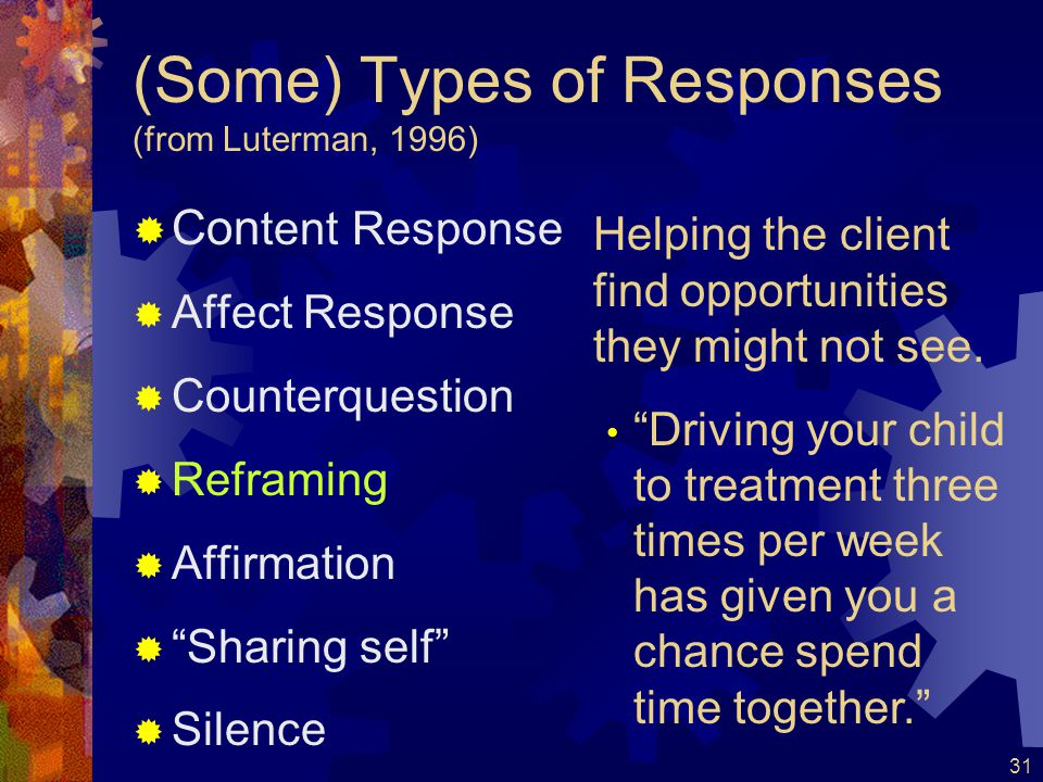 32 (Some) Types of Responses (from Luterman, 1996)  Con tent Response  Affect Response  Counterquestion  Reframing  Affirmation  Sharing self  Silence Provides indication that the message has been received without providing specific input… Encourages the client to continue talking