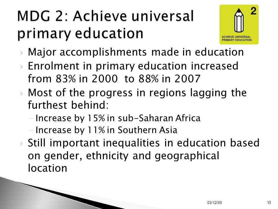  Major accomplishments made in education  Enrolment in primary education increased from 83% in 2000 to 88% in 2007  Most of the progress in regions