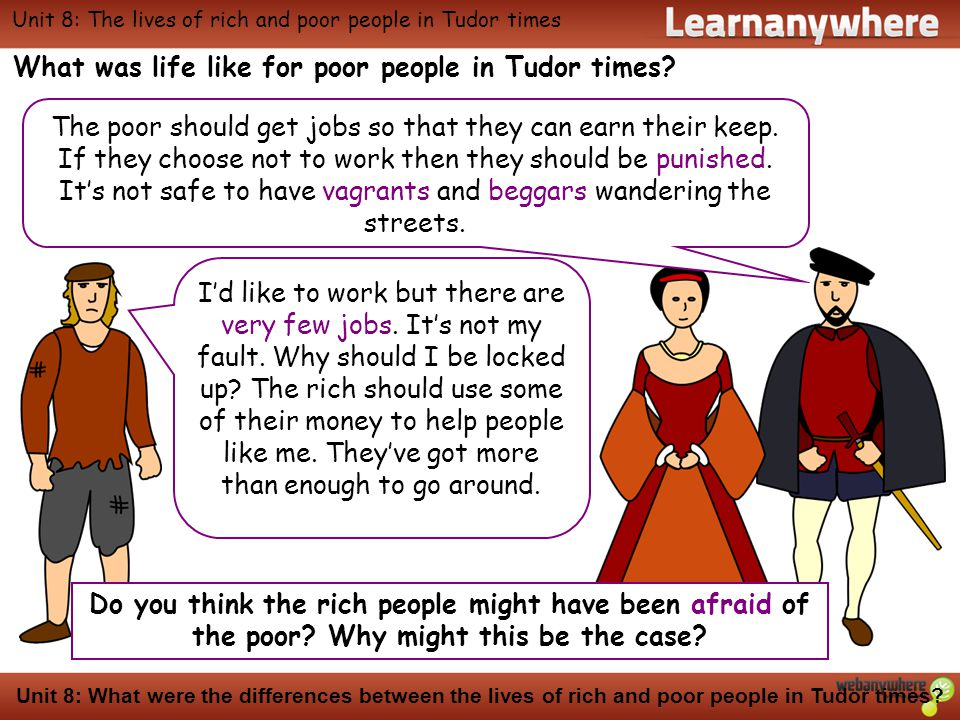 History Unit 8: What were the differences between the lives of rich and poor people in Tudor times.
