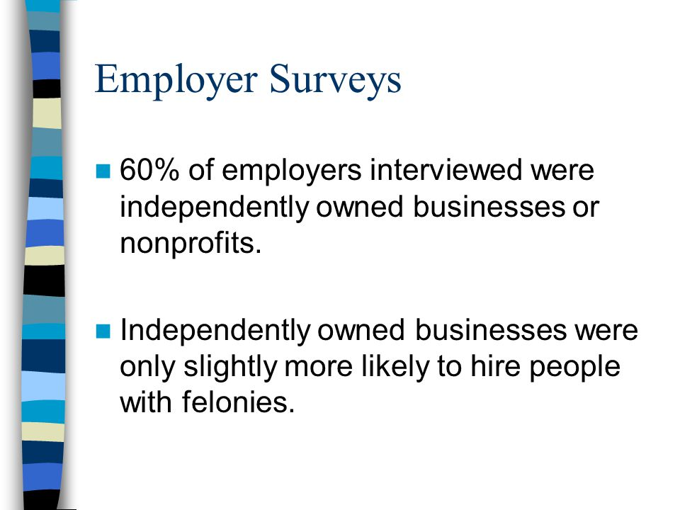 Employer Surveys 60% of employers interviewed were independently owned businesses or nonprofits.