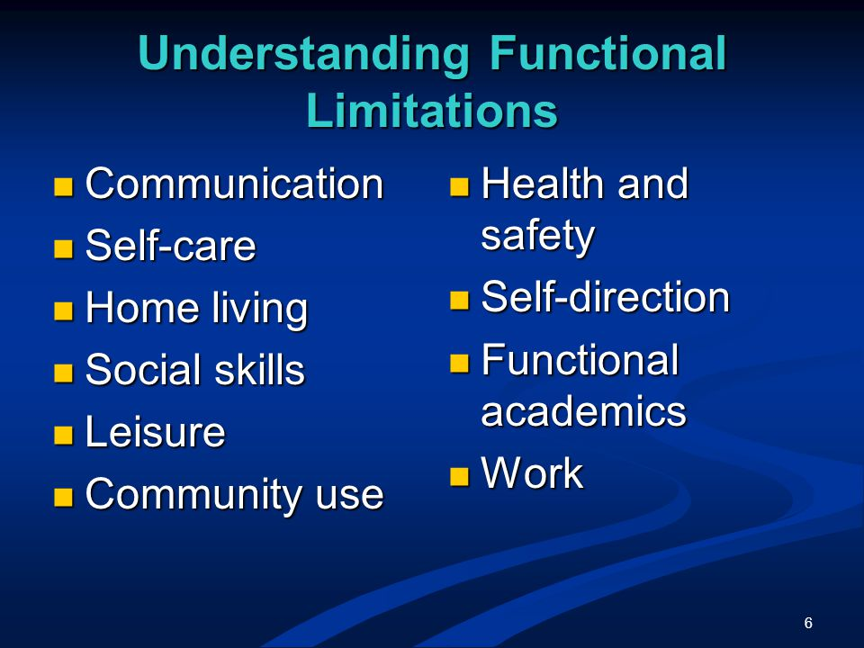 6 Understanding Functional Limitations Communication Communication Self-care Self-care Home living Home living Social skills Social skills Leisure Leisure Community use Community use Health and safety Self-direction Functional academics Work
