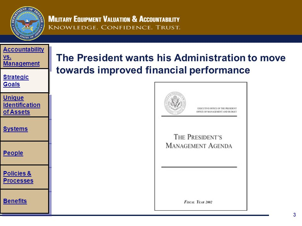 3 The President wants his Administration to move towards improved financial performance Accountability vs. Management Accountability vs. Management St
