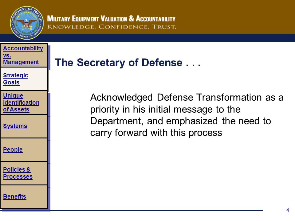 4 The Secretary of Defense... Acknowledged Defense Transformation as a priority in his initial message to the Department, and emphasized the need to c