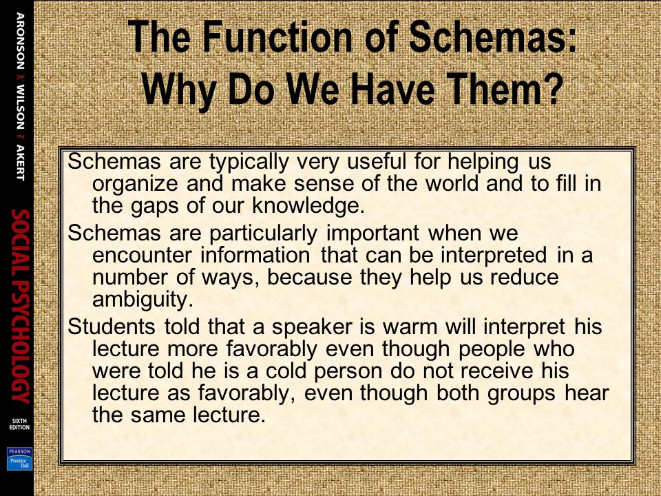 The Function of Schemas: Why Do We Have Them? Schemas are typically very useful for helping us organize and make sense of the world and to fill in the