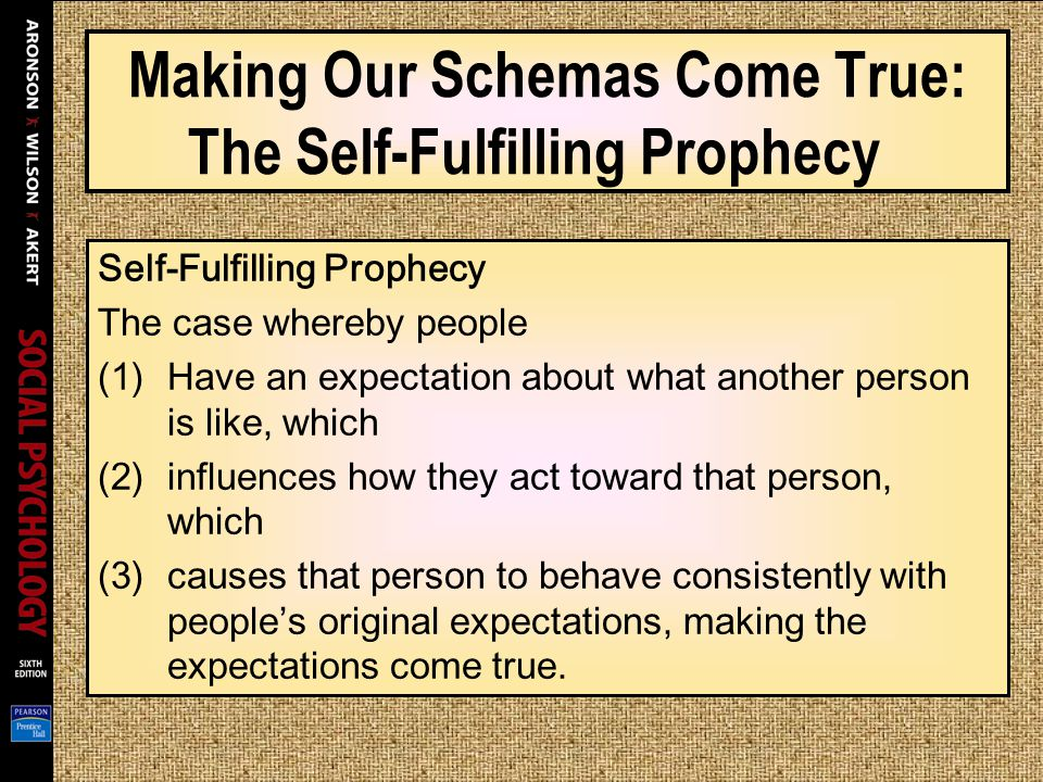 Making Our Schemas Come True: The Self-Fulfilling Prophecy Self-Fulfilling Prophecy The case whereby people (1)Have an expectation about what another