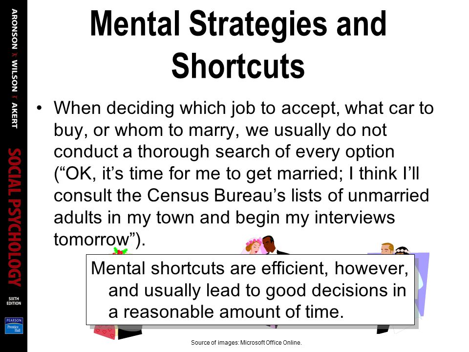 Mental Strategies and Shortcuts When deciding which job to accept, what car to buy, or whom to marry, we usually do not conduct a thorough search of e