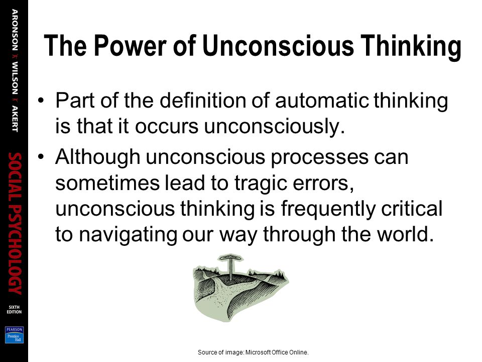 The Power of Unconscious Thinking Part of the definition of automatic thinking is that it occurs unconsciously. Although unconscious processes can som