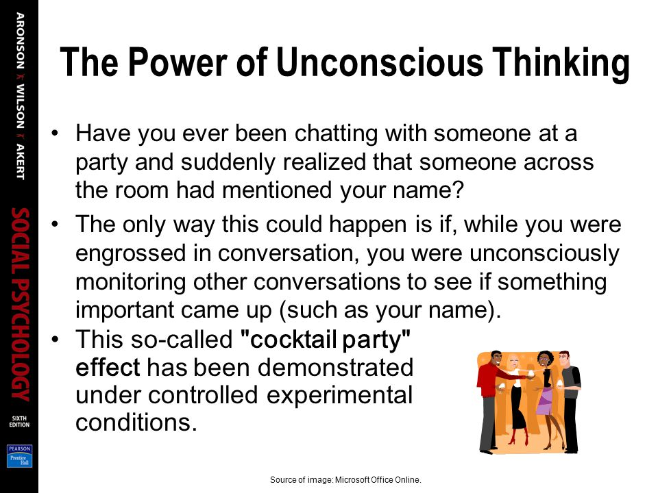 The Power of Unconscious Thinking Have you ever been chatting with someone at a party and suddenly realized that someone across the room had mentioned