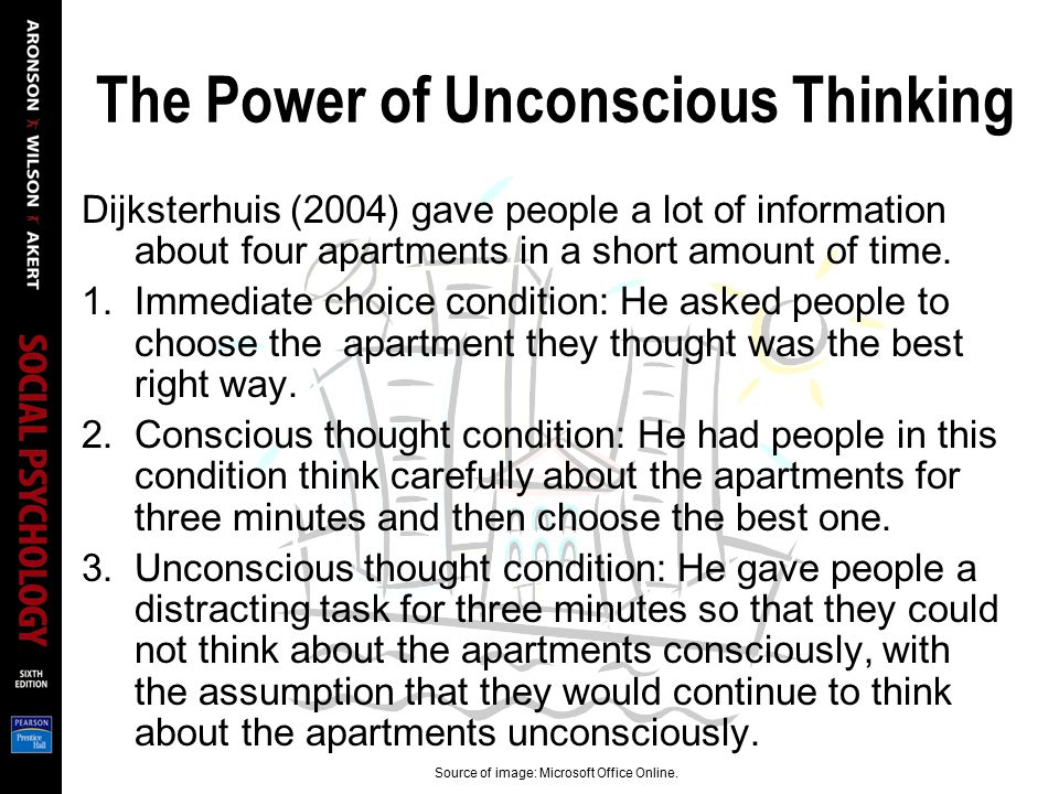 The Power of Unconscious Thinking Dijksterhuis (2004) gave people a lot of information about four apartments in a short amount of time. 1.Immediate ch