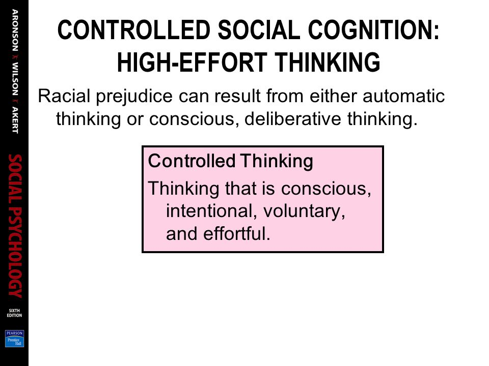 CONTROLLED SOCIAL COGNITION: HIGH-EFFORT THINKING Racial prejudice can result from either automatic thinking or conscious, deliberative thinking. Cont