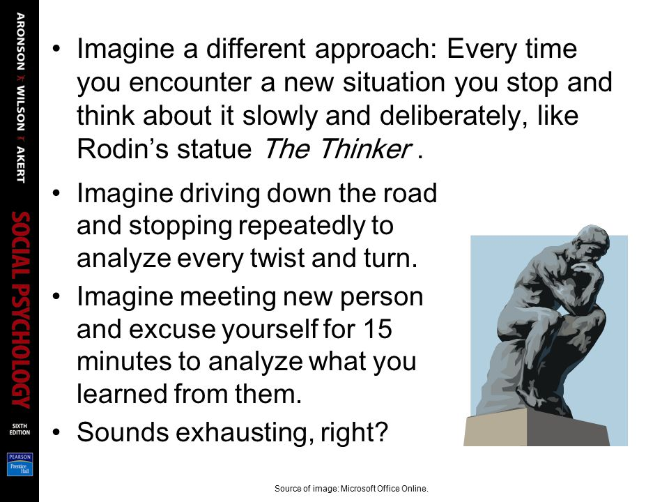 Imagine a different approach: Every time you encounter a new situation you stop and think about it slowly and deliberately, like Rodin's statue The Th