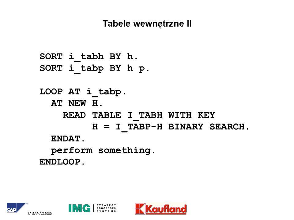  SAP AG2000 Tabele wewnętrzne II SORT i_tabh BY h.