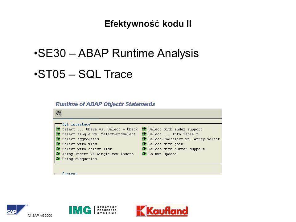  SAP AG2000 Efektywność kodu II SE30 – ABAP Runtime Analysis ST05 – SQL Trace