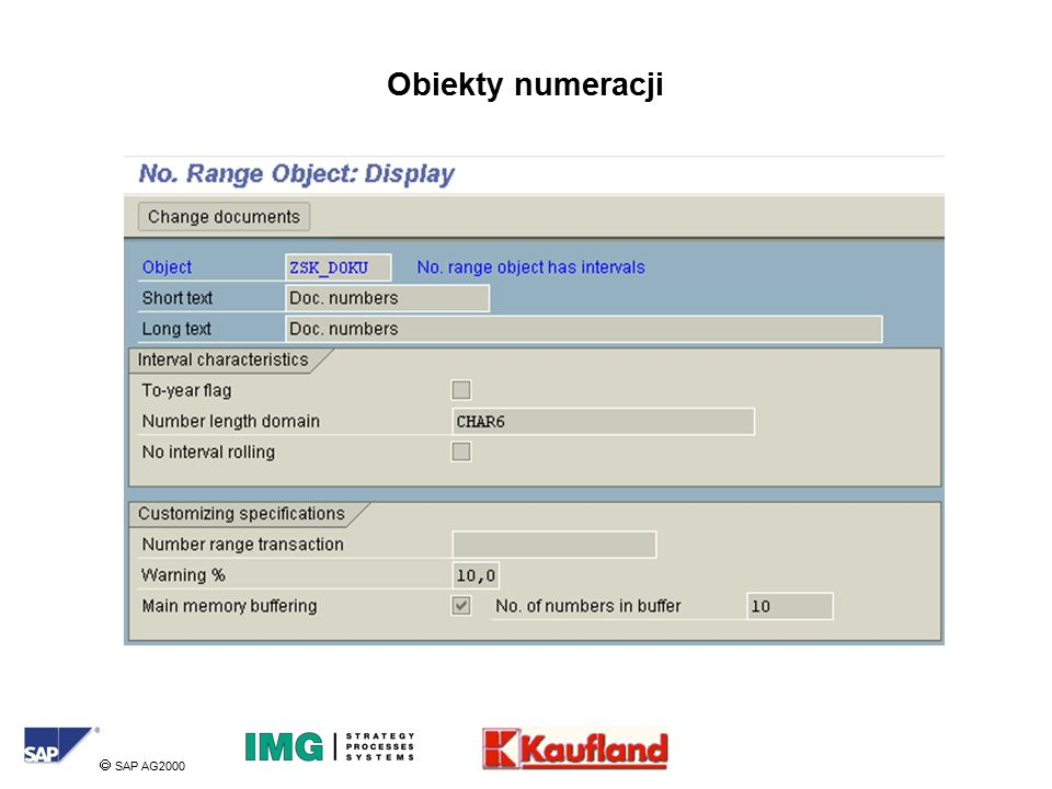  SAP AG2000 Obiekty numeracji