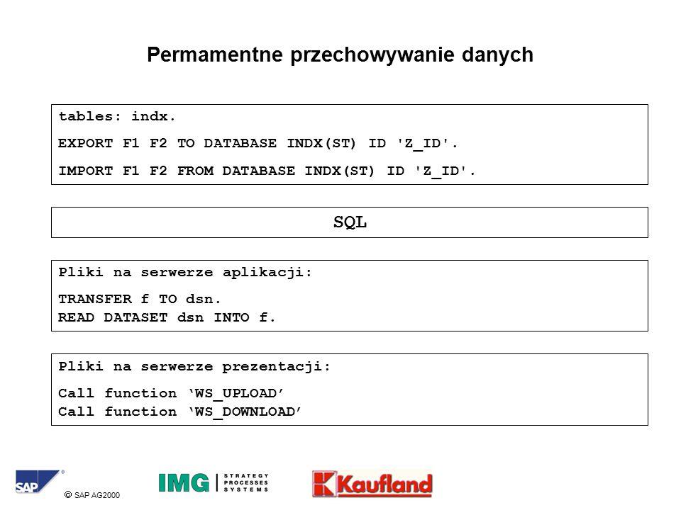  SAP AG2000 Permamentne przechowywanie danych tables: indx.