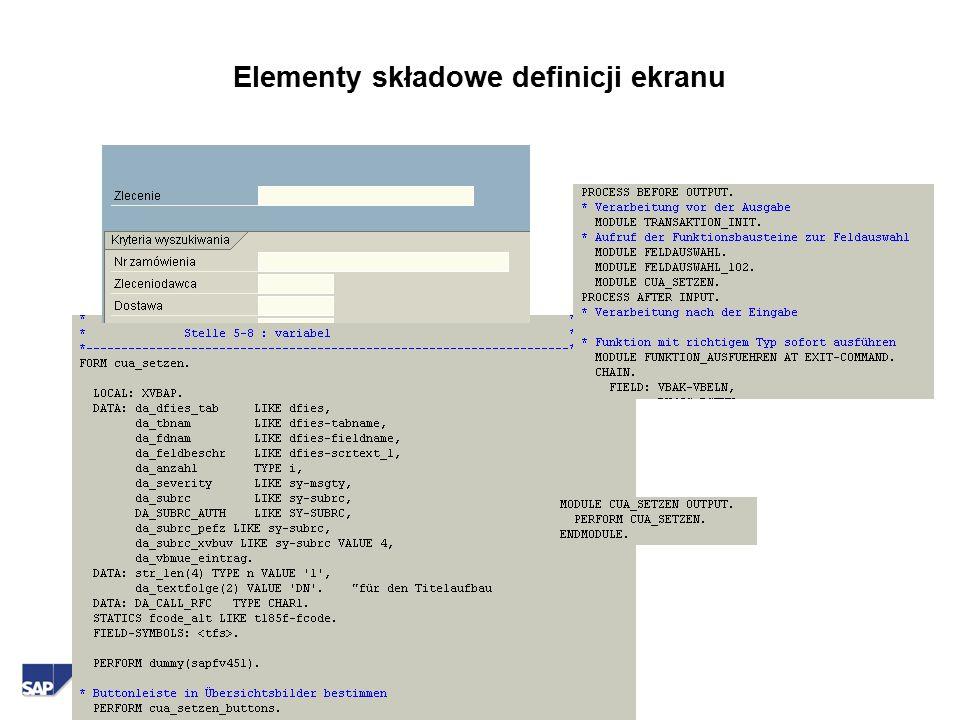  SAP AG2000 Elementy składowe definicji ekranu