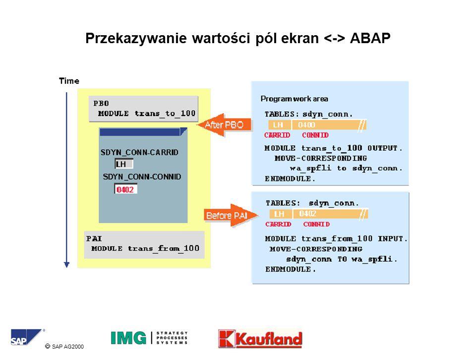  SAP AG2000 Przekazywanie wartości pól ekran ABAP
