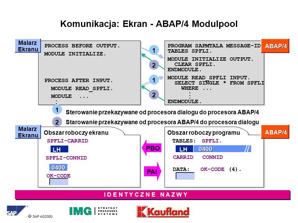  SAP AG2000 Komunikacja: Ekran - ABAP/4 Modulpool Sterowanie przekazywane od procesora dialogu do procesora ABAP/4 Starowanie przekazywane od procesora ABAP/4 do procesora dialogu PROCESS BEFORE OUTPUT.