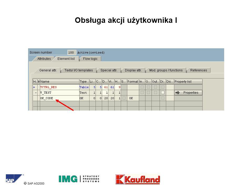  SAP AG2000 Obsługa akcji użytkownika I