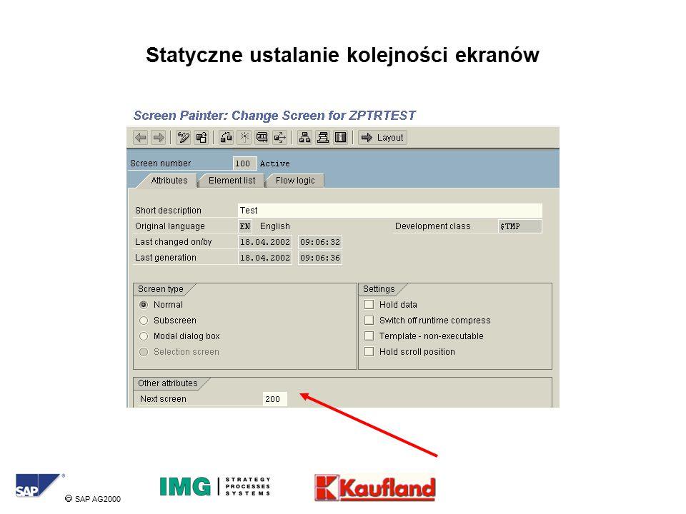  SAP AG2000 Statyczne ustalanie kolejności ekranów