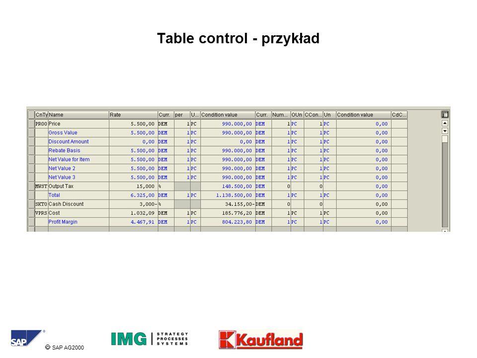  SAP AG2000 Table control - przykład