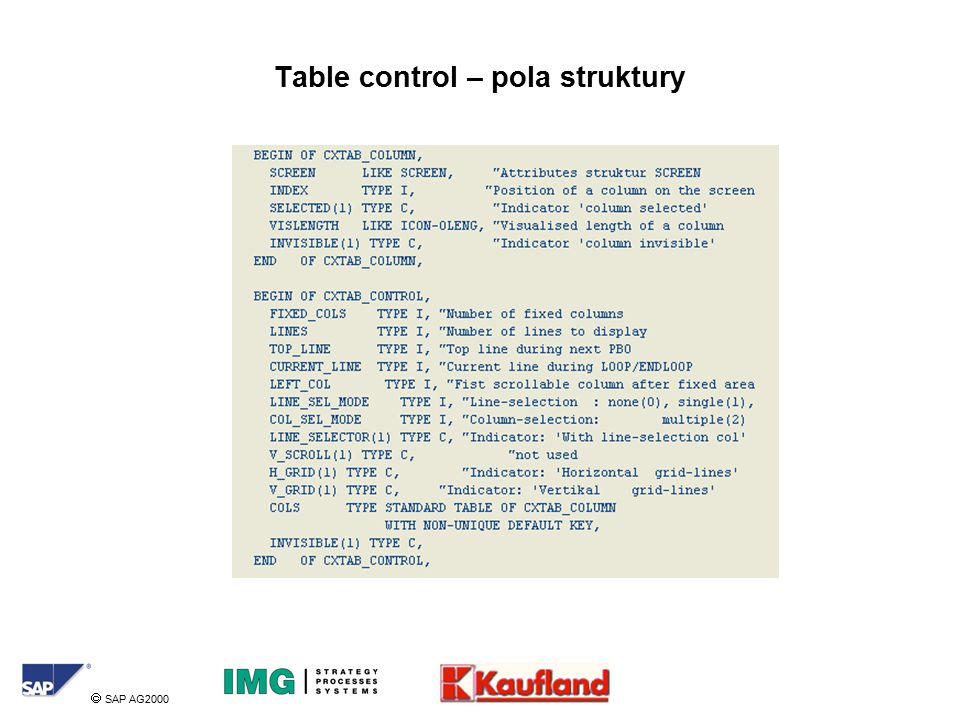  SAP AG2000 Table control – pola struktury