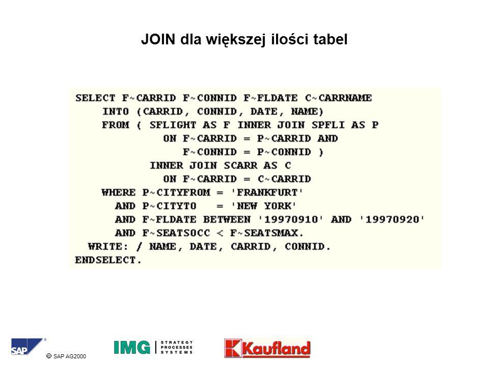  SAP AG2000 JOIN dla większej ilości tabel