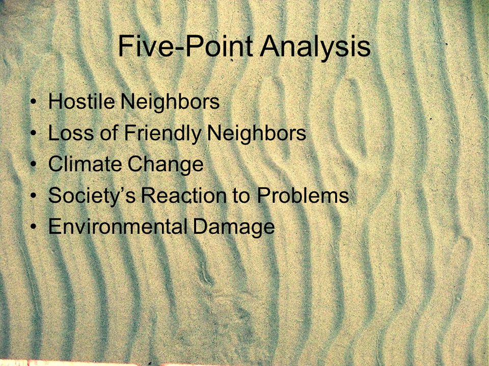 Five-Point Analysis Hostile Neighbors Loss of Friendly Neighbors Climate Change Society's Reaction to Problems Environmental Damage